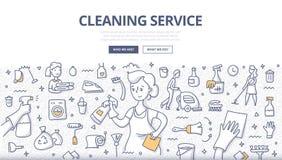 Concepto del garabato del servicio de la limpieza stock de ilustración
