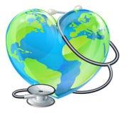 Concepto del globo del estetoscopio de la tierra del día de salud de mundo del corazón Foto de archivo
