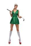 Concepto del golf Jugador de golf feliz de la mujer que celebra la mirada del club de golf Fotografía de archivo
