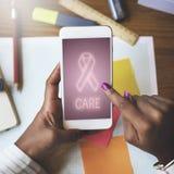 Concepto del gráfico de la esperanza del cuidado de la lucha de la ayuda del cáncer de pecho Imagen de archivo