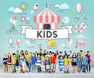 Concepto del gráfico de la gente de los niños jovenes de los niños Imagen de archivo libre de regalías