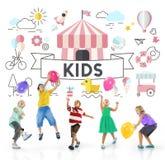 Concepto del gráfico de la gente de los niños jovenes de los niños Fotografía de archivo libre de regalías