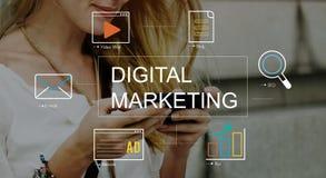 Concepto del gráfico de la tecnología del márketing de Digitaces medios fotografía de archivo