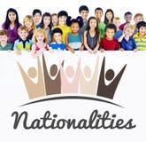 Concepto del gráfico de la unidad de la unidad de las nacionalidades de la diversidad imágenes de archivo libres de regalías