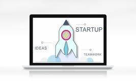 Concepto del gráfico de Rocket Spaceship Startup Business Strategy Foto de archivo libre de regalías