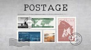Concepto del gráfico del correo del sello del paquete de la letra del franqueo foto de archivo libre de regalías