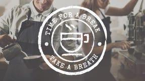 Concepto del gráfico del icono del grupo fecha/hora del té del descanso para tomar café fotos de archivo libres de regalías