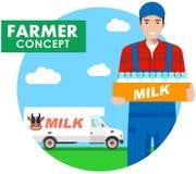 Concepto del granjero Ejemplo detallado del conductor, lechero en guardapolvos en fondo con el camión de la leche en estilo plano stock de ilustración