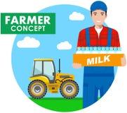 Concepto del granjero Ejemplo detallado del conductor, trabajador, lechero en guardapolvos en fondo con el tractor en el campo ad Imagen de archivo libre de regalías