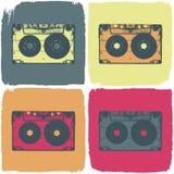 Concepto del hacer estallar-arte del cassette audio. stock de ilustración