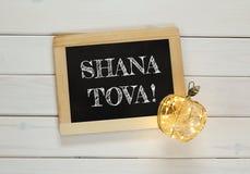 Concepto del hashanah de Rosh (Año Nuevo judío) Símbolos tradicionales Fotos de archivo