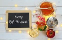 Concepto del hashanah de Rosh (Año Nuevo judío) Símbolos tradicionales Imágenes de archivo libres de regalías