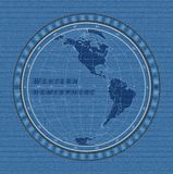 Concepto del hemisferio del este en fondo de la textura del dril de algodón Ilustración del vector libre illustration