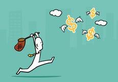 Concepto del hombre de negocios: Funcionamiento del hombre de negocios para coger el dólar que vuela si Imagen de archivo libre de regalías