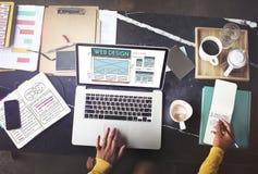 Concepto del homepage de la tecnología de la disposición de Internet del diseño web Fotos de archivo