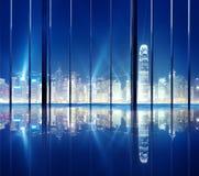 Concepto del horizonte de Hong Kong City Night View del paisaje urbano Fotos de archivo libres de regalías
