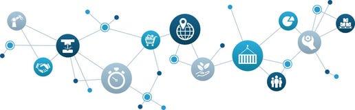 Concepto del icono de los desafíos y de las oportunidades del negocio - crecimiento, comercio y logística - ejemplo del vector stock de ilustración