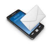 Concepto del icono del correo electrónico del teléfono celular. en blanco.