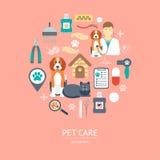 Concepto del icono del cuidado de animales de compañía Diseño plano Vector Fotos de archivo