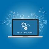 Concepto del icono del engranaje de la pantalla del ordenador portátil del ordenador del software del sistema operativo del OS Fotos de archivo libres de regalías