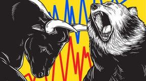 Concepto del icono del negocio de la inversión de Bull y del mercado bajista libre illustration