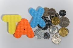 Concepto del impuesto de la palabra con la moneda sucia sobre el fondo blanco foto de archivo libre de regalías