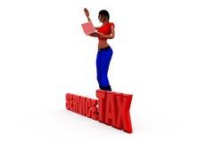 concepto del impuesto sobre la prestación de servicios de la mujer 3d Fotos de archivo libres de regalías