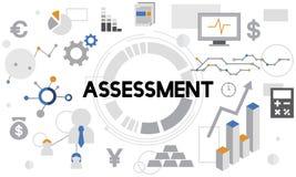 Concepto del informe de la gestión del análisis de la evaluación de la evaluación ilustración del vector