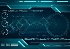 Concepto del interfaz de HUD de la tecnología de la imagen de Digitaces con el micr del circuito Imagen de archivo libre de regalías