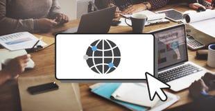 Concepto del interfaz del establecimiento de una red de la comunicación global Imagenes de archivo