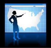 Concepto del Internet del web browser con la correspondencia de los E.E.U.U. libre illustration