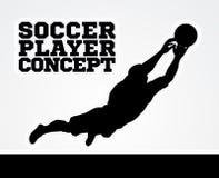 Concepto del jugador de fútbol del encargado de la meta Imágenes de archivo libres de regalías