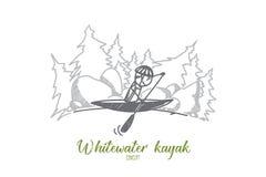 Concepto del kajak de Whitewater Vector aislado dibujado mano libre illustration