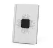 Concepto del libro de Digitaces Microchip con el circuito sobre el libro de banco Imagen de archivo libre de regalías