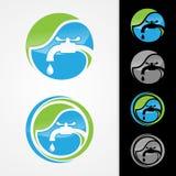 Concepto del logotipo de la compañía de la fontanería de Eco imagenes de archivo