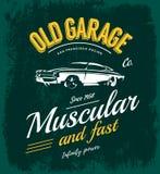 Concepto del logotipo del vector del coche del músculo del vintage aislado en verde Imágenes de archivo libres de regalías