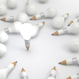 Concepto del lápiz de la idea del dibujo y de la bombilla creativo Fotos de archivo