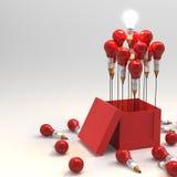 Concepto del lápiz de la idea del dibujo y de la bombilla fuera de la caja como cr Foto de archivo