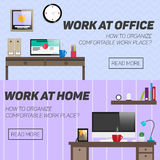 Concepto del lugar de trabajo del hogar y de oficina Vector Imágenes de archivo libres de regalías