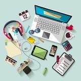 Concepto del lugar de trabajo Diseño plano Imagen de archivo libre de regalías