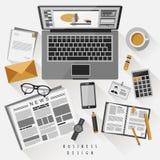 Concepto del lugar de trabajo en diseño plano Imagen de archivo