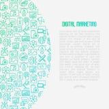 Concepto del márketing de Digitaces con la línea fina iconos ilustración del vector