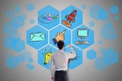 Concepto del márketing de Digitaces dibujado por un hombre foto de archivo