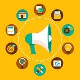 Concepto del márketing de Internet del vector en estilo plano Fotos de archivo libres de regalías