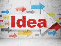 Concepto del márketing: flecha con idea en fondo de la pared del grunge libre illustration