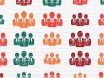 Concepto del márketing: Hombres de negocios de los iconos en la pared Imagen de archivo libre de regalías