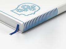 Concepto del márketing: libro cerrado, cabeza con los engranajes en el fondo blanco Foto de archivo
