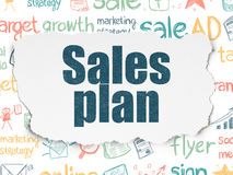 Concepto del márketing: Plan de las ventas en el papel rasgado Fotos de archivo libres de regalías