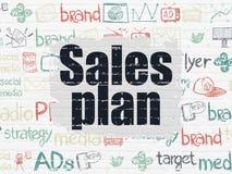 Concepto del márketing: Plan de las ventas en fondo de la pared Imágenes de archivo libres de regalías