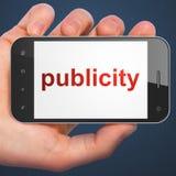 Concepto del márketing: publicidad del smartphone Fotografía de archivo